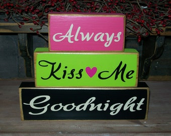 New..Primitive Always Kiss Me Goodnight Wood Block Sign Distressed Stacking Blocks Nursery Kids Children Room Decor Pick Your Colors