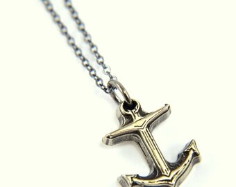 Two for One Sale....Tiny Anchor Necklace - White Bronze Necklace