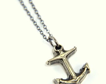 Tiny Anchor Necklace - White Bronze Necklace