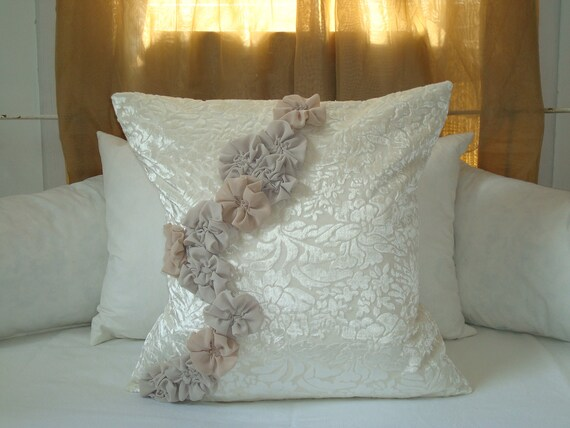 Pillow Cover with Rosettes on Off-White Velvet and Linen