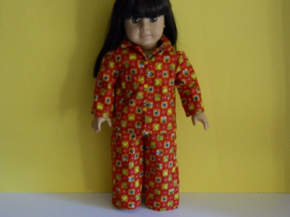 American Girl doll clothes, 18 inch doll clothes, American girl doll pajamas -  Red Kitty Pajamas