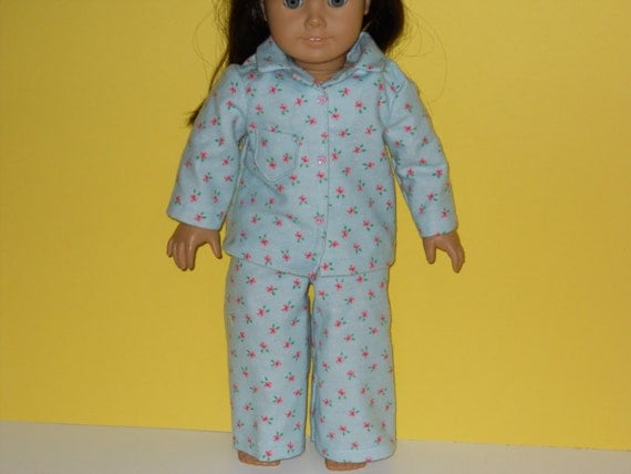 American Girl doll clothes, 18 inch doll clothes, American girl doll pajamas -  Blue Rosebud Pajamas
