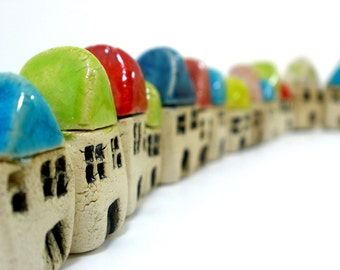 A  tiny rustic ceramic beach cottage in a color of your choice - Ceramic miniature houses Home decoration Collection