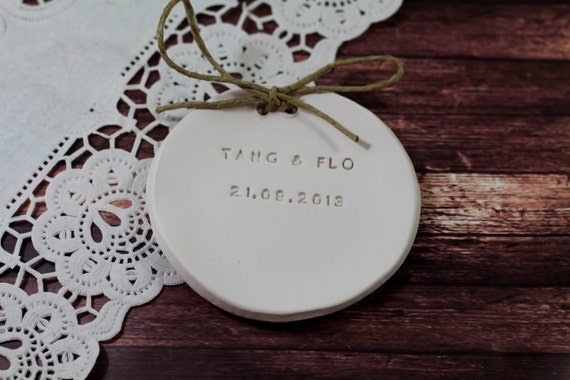 Ring bearer pillow alternative, Personalized wedding ring bearer Ring dish Wedding Ring pillow Names and wedding date