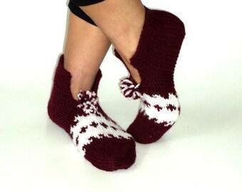 Women, Handknitted ,Wool, Burgundy and white Slippers