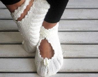Christmas Gift, White Slippers, Ballerina Slippers, Wool Slippers, Handknitt Slippers, House Slippers