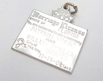 Marriage Licence Charm Sterling
