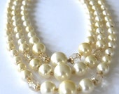 Vintage Mad Men, Triple Strand Ivory Faux Pearls and AB Crystal Choker marked Japan, Bib Necklace , Wedding, Bride Necklace