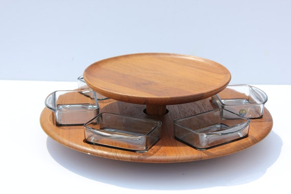 Mid Century Danish Modern Teak Wood Lazy Susan with Glass Dished Digmed of Denmark