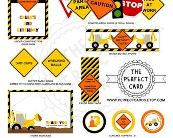 CONSTRUCTION Deluxe Printable Party Package