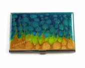Business Card Case in Hand Painted Enamel Peacock Blue Lime and Gold Metal Wallet Custom Colors and Personalized Options