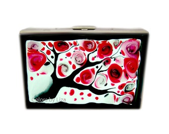 RFID Wallet Hand Painted Enamel Wallet Red Black and White Blossom Inspired Credit Card Holder with Personalized Options