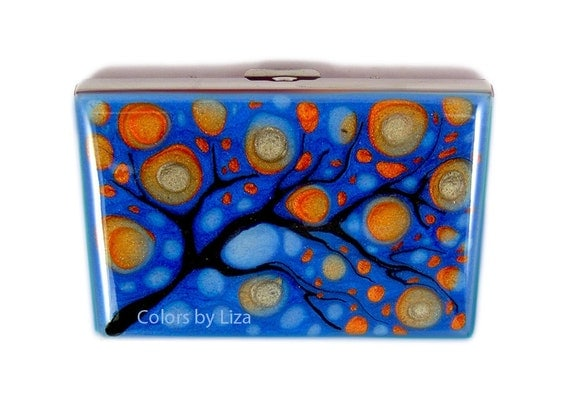 RFID Metal Accordion Wallet with Credit Card Organizer Hand Painted Enamel Orange and Blue with Custom Colors and Personalized Options