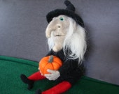 Reserved for Anna, Halloween decoration, Witch table decoration, hand made needle felted from wool and holding her pumpkin.