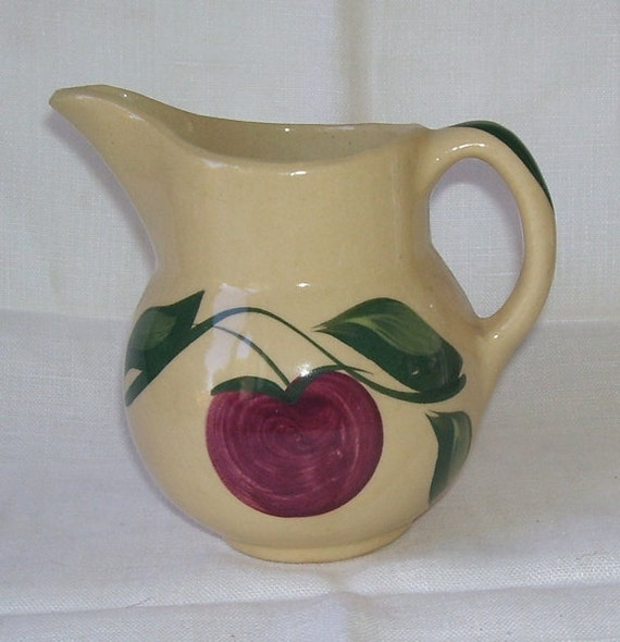 Vintage Watt Three Green Leaves Red Apple Pottery Pitcher