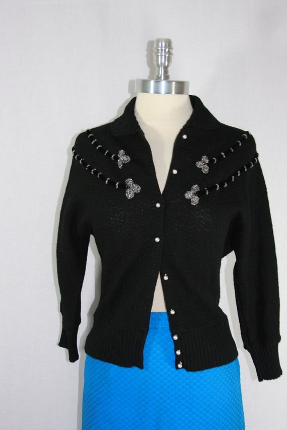 1950s Vintage Sweater - ROCKABILLY Black Knit Pin Up Beaded Sweater