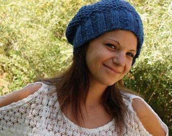 Knit Hat Pattern, Knitting Pattern, Slouch Hat Pattern, Beanie