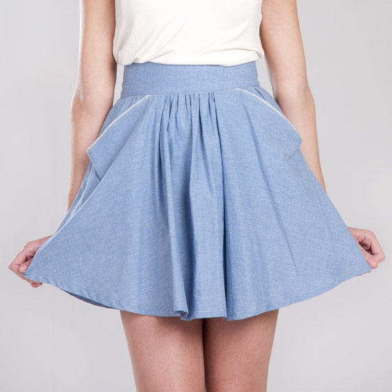 SALE - Blair Eco blue circle skirt - Last one Available Organic cotton and hemp / xsmall, small, medium, large, xlarge, custom sizing