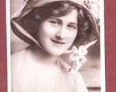 Downton Abbey style Bonnet Vintage RP RPPC Real Photo Postcard of the British Edwardian Stage Star Actress Miss Phyllis Dare