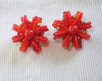 Vintage Earrings Clip On Red Plastic Beads Hong Kong Costume Jewelry Gold Tone