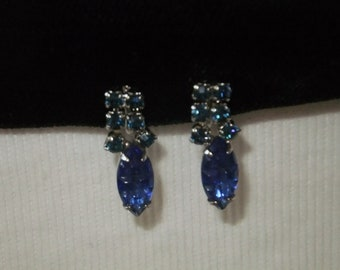 Vintage Earrings Screw Back Blue Faux Stones Silvertone Costume Jewelry Formal Wedding Prom