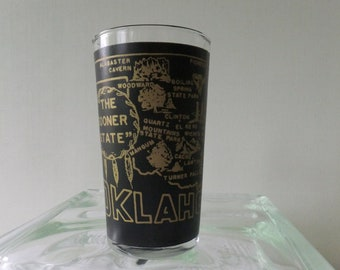 Vintage Glass Oklahoma State Souvenir Tumbler The Sooner State Black Frosted with Gold Lettering Road Trip Vacation Retro