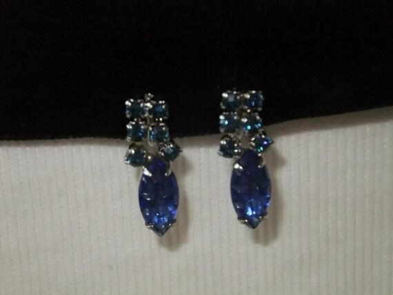 Vintage Earrings Screw Back Blue Faux Stones Silvertone Costume Jewelry