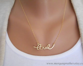 Wholesale - Cursive Love Necklace in Gold - Dainty Love Pendant Charm - Gold Filled Chain - Perfect Gift - morganprather