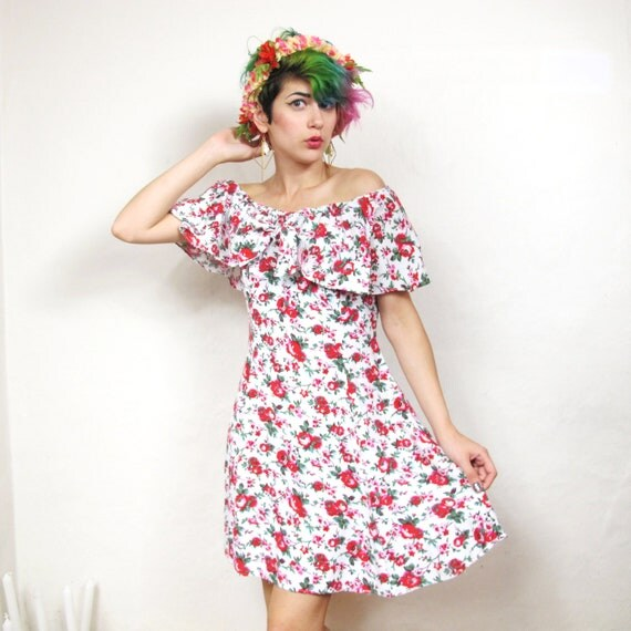 90s Lolita Flirty Floral Ruffle Dress (S)