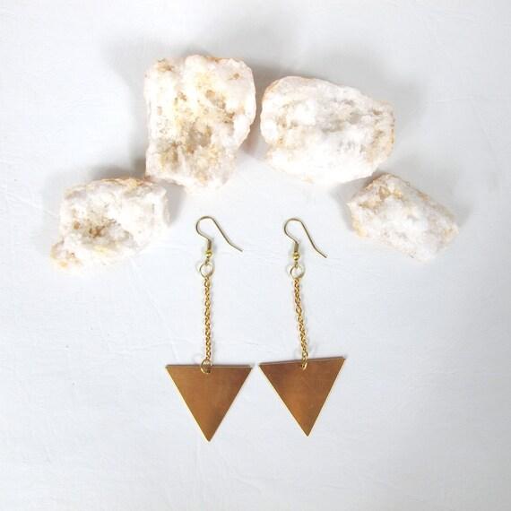 Golden Arrows Minimalist Triangles Earrings