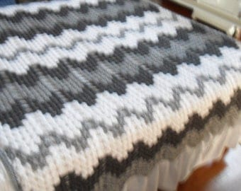 Crochet Afghan (Queen) - Blanket - Bedspread - Throw  ''CONTEMPORARY GRANNY RIPPLE''  in Grays and White