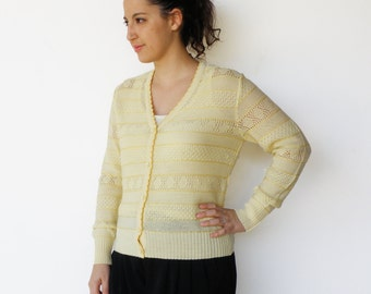 Vintage Cotton Cardigan / 70s Maize Knit Scallop Trimmed Cardigan / Size M L
