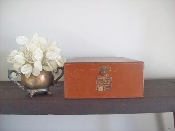 Vintage Wood Cigar Box with Mortised Corners and Metal Hinges