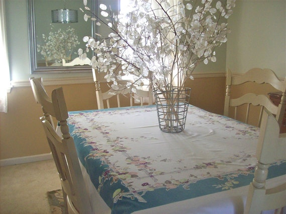 Vintage Tablecloth Trumpet Vines Branches Turquoise Lime Green
