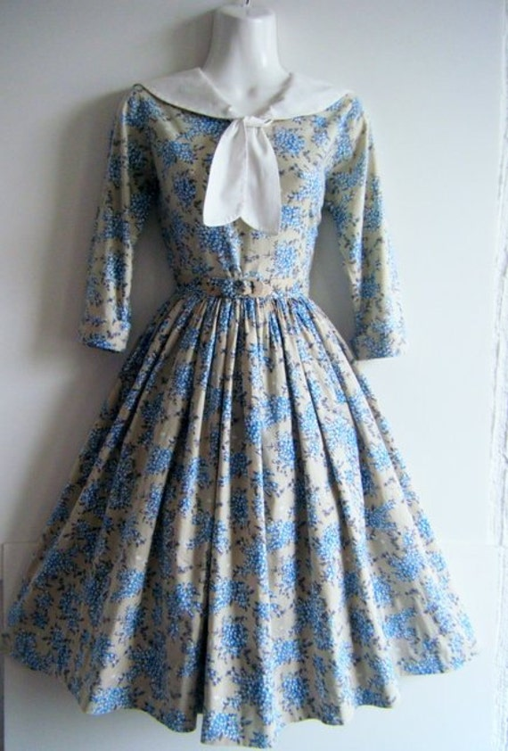 1950's dress, goody goody two shoes blueberry print party dress, full circle skirt and matching belt, size s - m