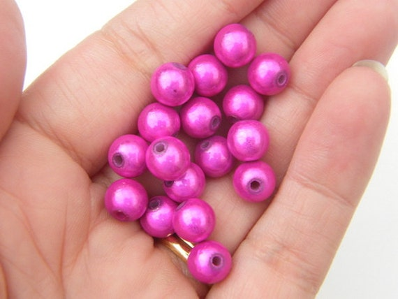 20 Hot pink miracle beads 8mm