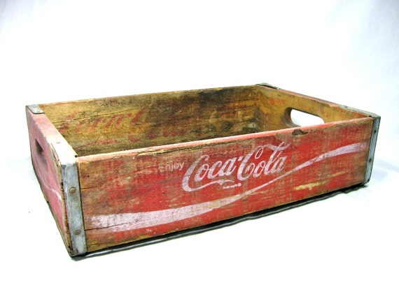 Rustic 1976 COCA - COLA WOODEN Crate No. 3  -  Red with White Letters
