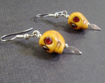 Small Red Eyed Silver Speared Orange Skull earrings Day of The Dead , Halloween