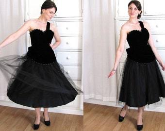50s Dress / One Shoulder Dress / 1950s Black Velvet Dress / 50s Party Dress