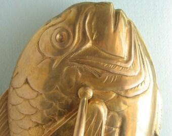 Large Vintage Antique Brass Koi Fish