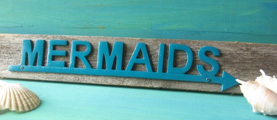 Mermaid Rustic Wood and Metal Nautical Mermaid Sign/ Hanger Wall Decor/ Coastal Decor Beach in Teal