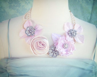 Pearl pink satin rose and flower bib necklace vintage rhinestongs.