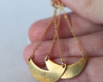 Gold Crescent Earrings, Modern Earrings, Half Moon Geometric Jewelry, Minimalist Fashion, Gift Under 30