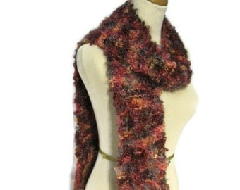 End of Summer Hand Knit Scarf - Burgundy, Gray, Brown, Peach, Apriciot, Pink