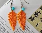 SALE Beautiful colorful summer earrings/ Orange Lace earrings with amazonite/ Tribal lace/ Boho earrings/ Lace fashion/ rusteam tt team