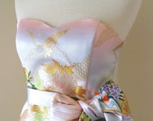 Wedding dress with vintage KIMONO top OBI bow sash belt gold brocade crane spring flower pastel pink blue cream A line made to order