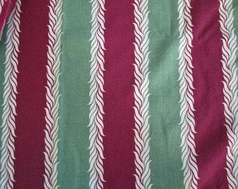 Vintage BARKCLOTH Cotton 50 x 22 Green Maroon w White LEAVES