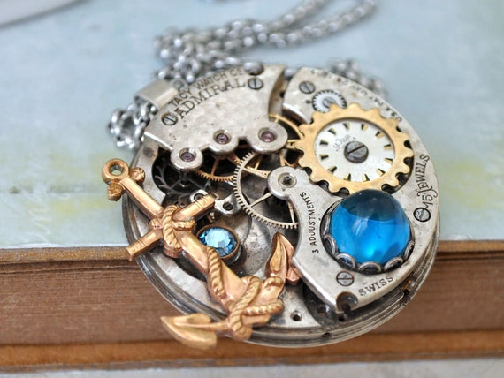 steampunk necklace TIME To SET SAILS vintage 1900s Tacy pocket watch movement necklace on steel chain