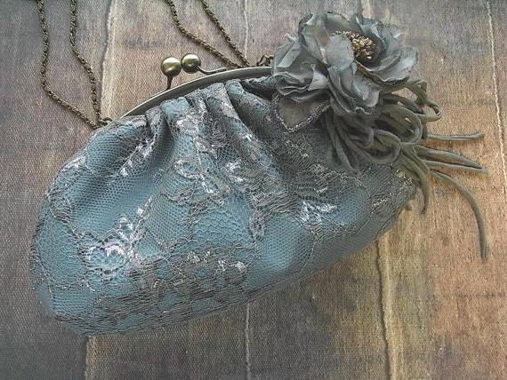 hand dyed corsage and purse - silver lace, gray blue