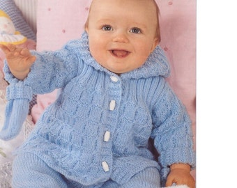 BABY KNITTING PATTERN - Baby Jacket w/Hood,Trousers and Mitts - to fit 14 to 20 ins Prem to 12 Months